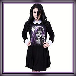 Gothic Dead Doll Babydoll Dress Black Size: L